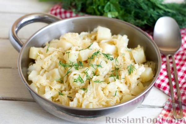 Картошка, тушенная с пекинской капустой