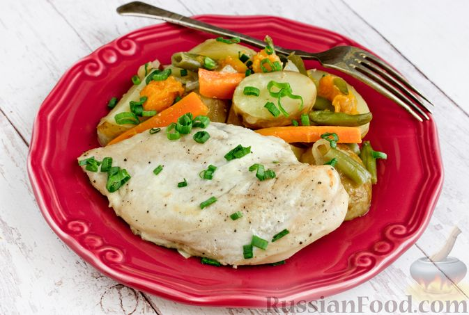 Куриное филе, запечённое с овощами