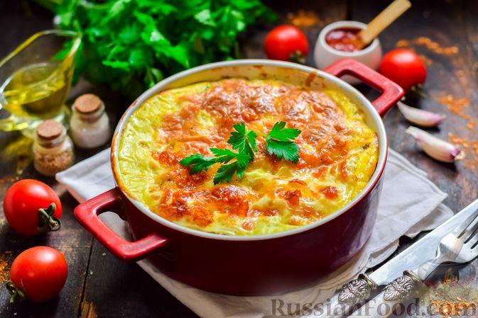 Рыбная запеканка с картофелем и шпинатом