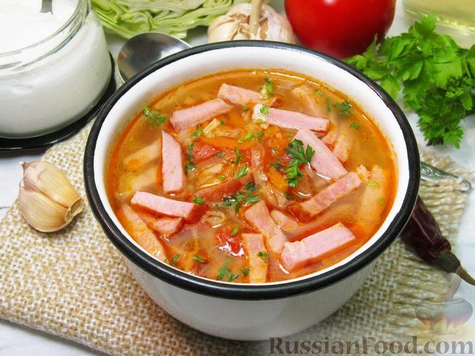 Суп с капустой, помидорами, рисом и ветчиной