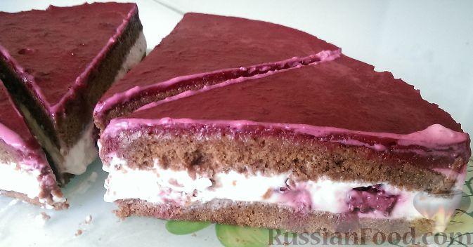 Вишневый торт с творожным кремом