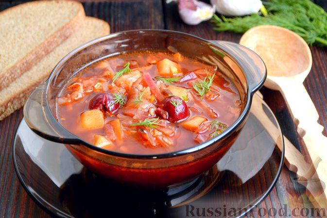 Красный борщ с вишней и орехами