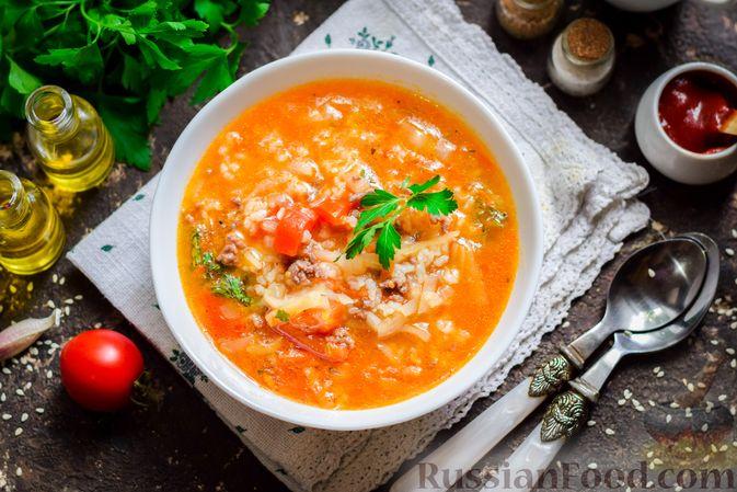 Суп с фаршем, капустой и рисом