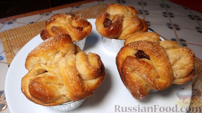 Дрожжевые булочки с шоколадной начинкой, цедрой лимона и имбирём
