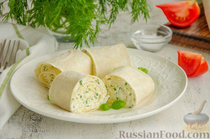 Рулет из лаваша с сыром, творогом и зеленью