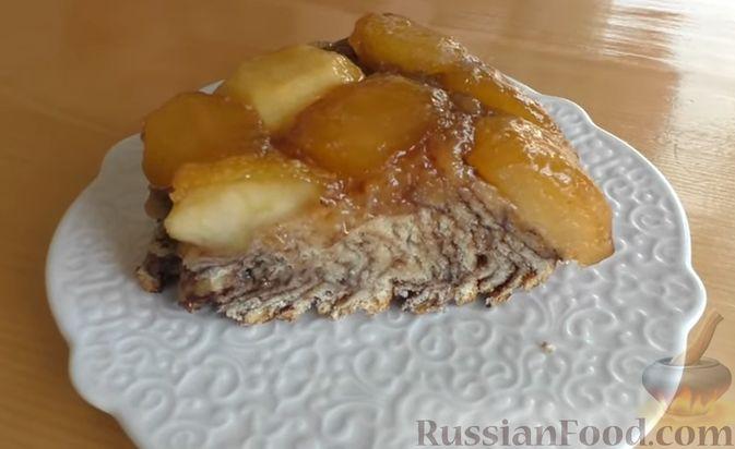 Дрожжевой пирог-перевёртыш с яблоками в карамели