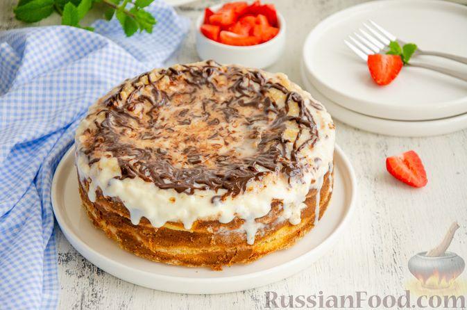 Насыпной пирог с творогом, сметаной, сгущёнкой и шоколадом