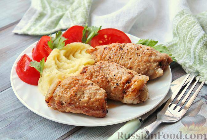 Мясные рулетики с чесночно-томатной начинкой (в духовке)