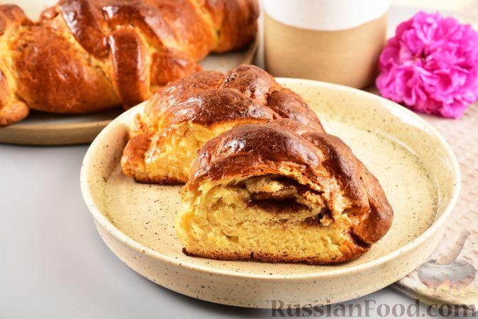 Пирог «Венок» из творожного дрожжевого теста, с корицей