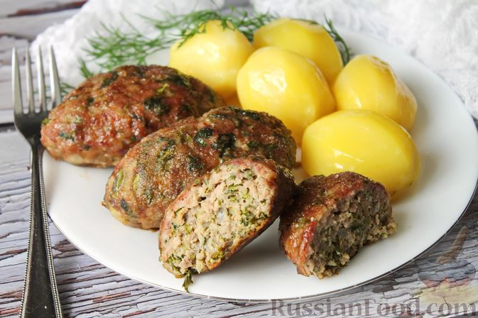 Мясные котлеты со шпинатом (в духовке)
