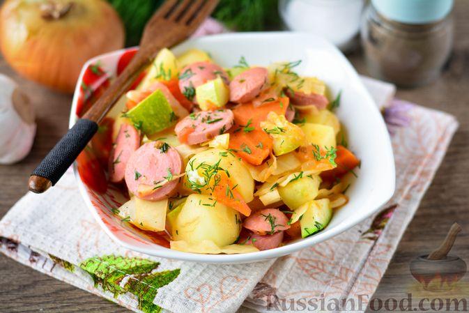 Рагу с кабачком, картошкой, капустой и сосисками
