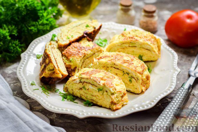 Кабачковый омлет-рулет с сырной начинкой