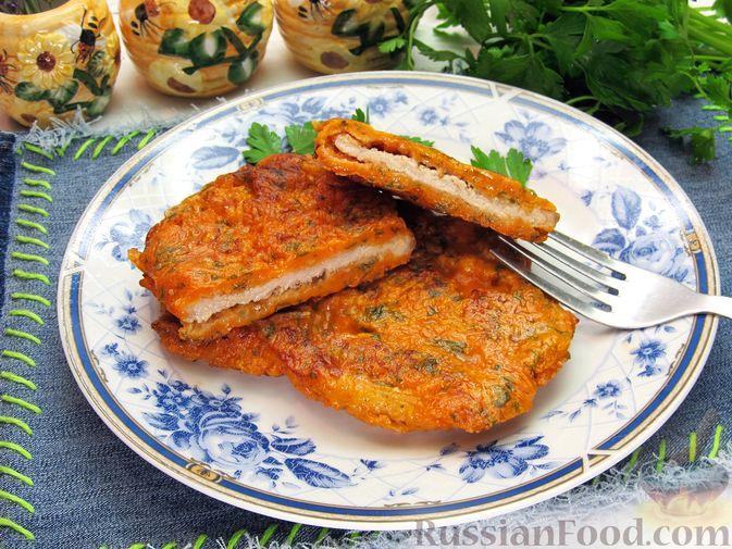 Отбивные из свинины в томатно-сырном кляре