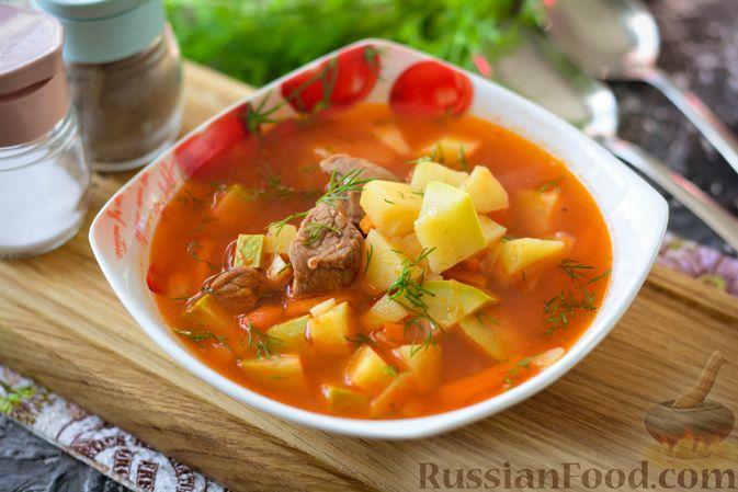 Суп из говядины с кабачками