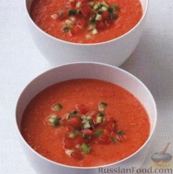 Холодный суп из помидоров и перца