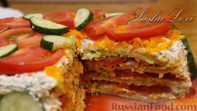 Кабачковый торт с творогом и помидорами