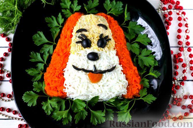 """Слоеный салат """"Собачка"""" с курицей"""