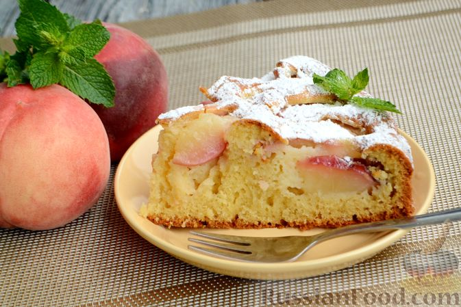 Пирог с персиками, на сметане