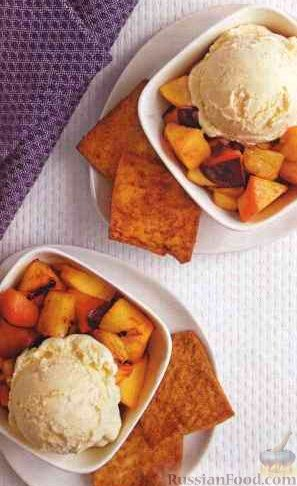Десерт из жаренных на гриле фруктов