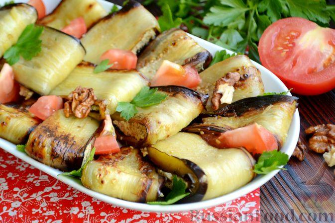Жареные баклажаны с ореховым соусом