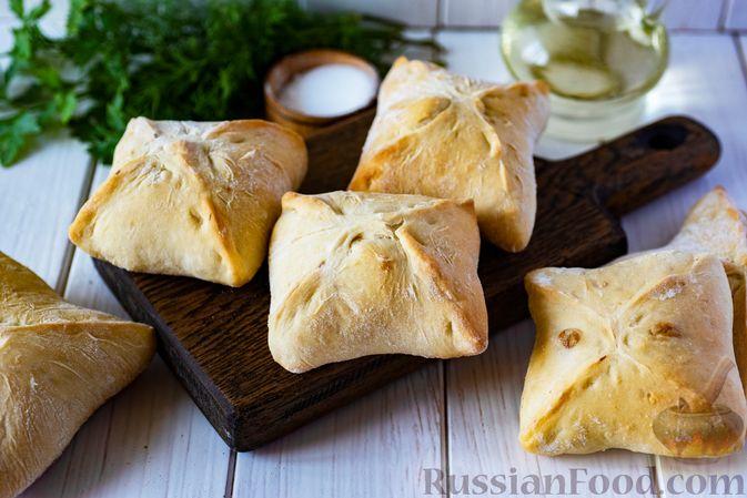 Дрожжевые пирожки-конвертики с сыром, сладким перцем и укропом (в духовке)