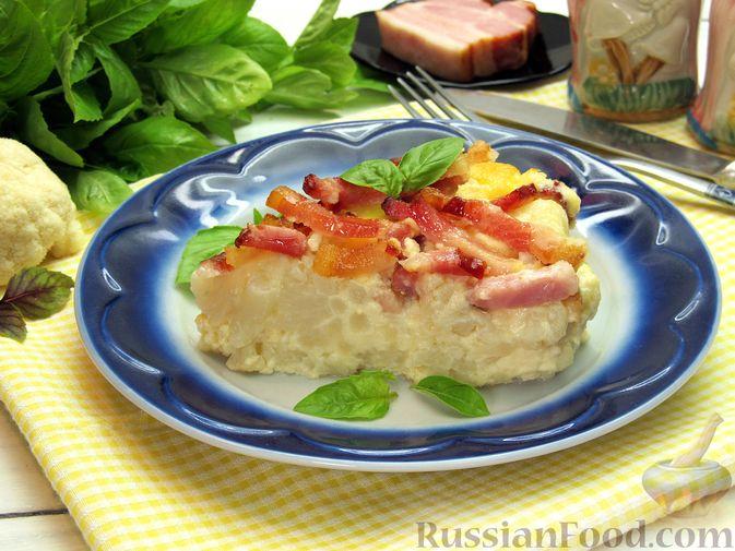 Запеканка из цветной капусты и бекона, в сливочно-сырной заливке