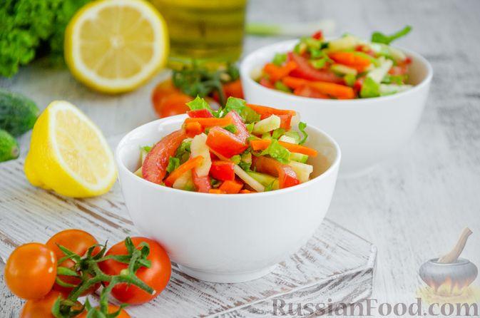 Салат из моркови с яблоком, помидорами и огурцами