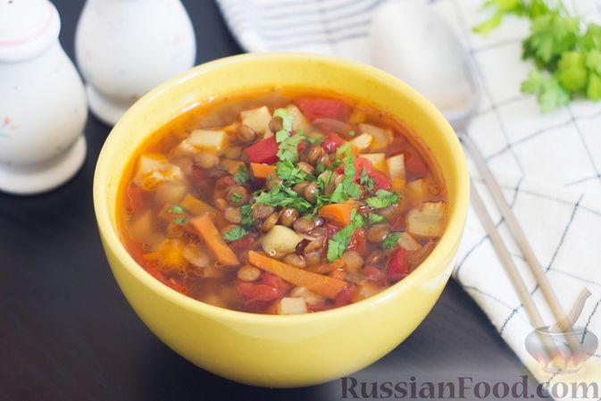Овощной суп с чечевицей