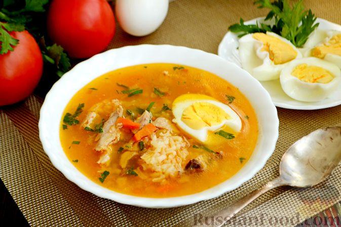 Куриный суп с помидорами и рисом