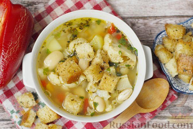 Фасолевый суп с цветной капустой и сухариками