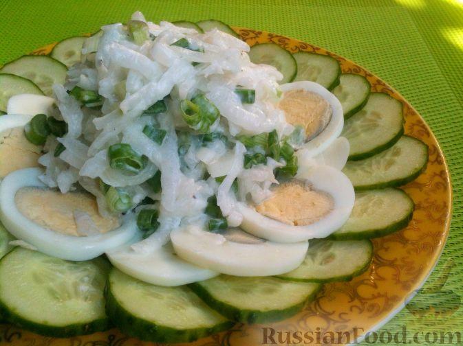 Салат из редьки, огурцов и яиц