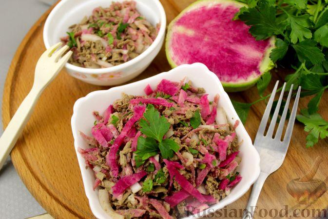 Салат из редьки с печенью