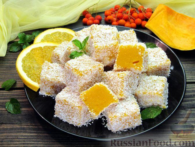 Тыквенный рахат-лукум с апельсиновым соком, цедрой и кокосовой стружкой
