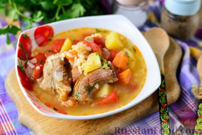 Суп с говяжьими рёбрами, рисом и помидорами