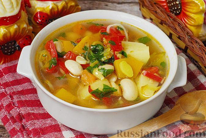 Овощной суп с фасолью и тыквой