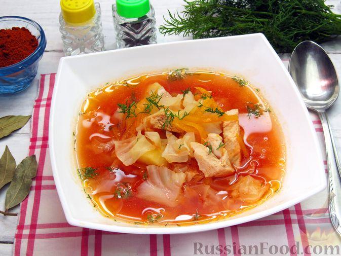 Куриный суп с капустой и томатной пастой