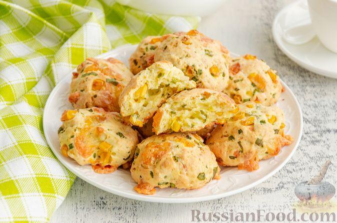 Бездрожжевые булочки на сметане, с кукурузой, сыром и зелёным луком