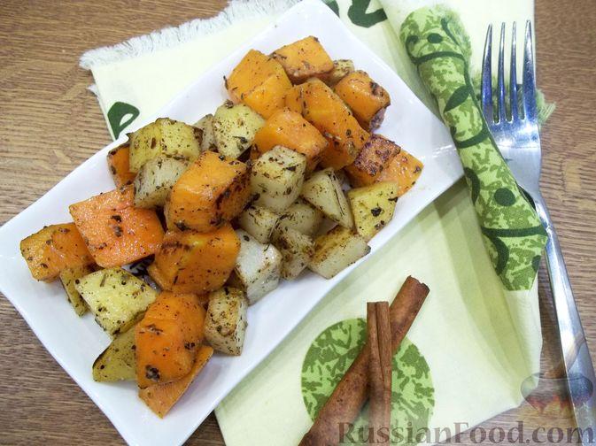 Картошка, запечённая с тыквой (в микроволновке)