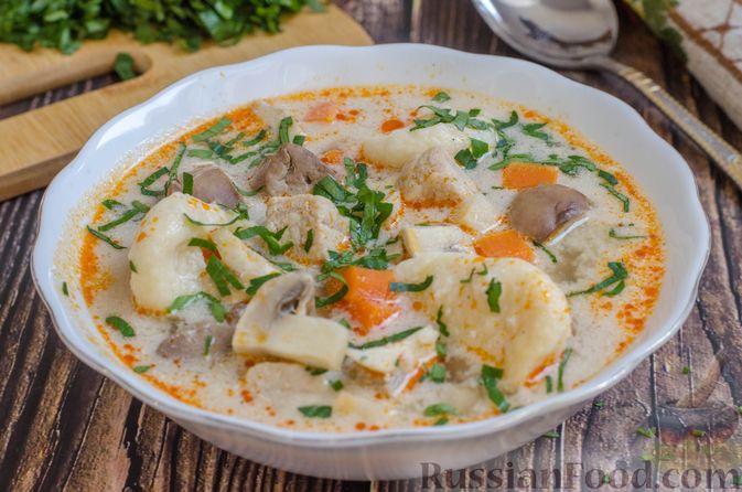 Суп со свининой, куриной печенью и грибами
