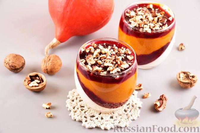 Тыквенно-сливочный десерт с джемом и орехами