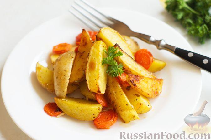 Картошка, запечённая с морковью, пряностями и мёдом