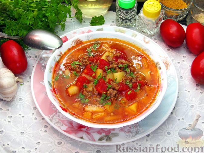 Томатный суп с мясным фаршем и яблоком