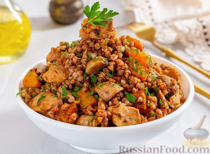 Гречка с курицей, тыквой и грибами (на сковороде)