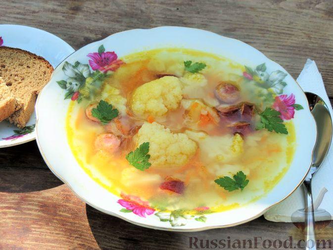 Суп с цветной капустой, рисом и сосисками