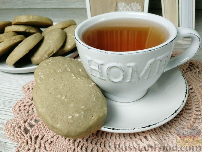 Кунжутное печенье с зелёным чаем