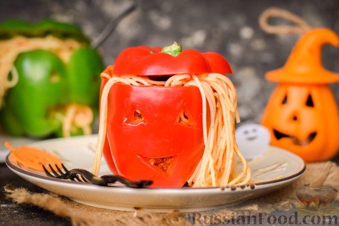 Болгарский перец с начинкой из спагетти с мясным фаршем