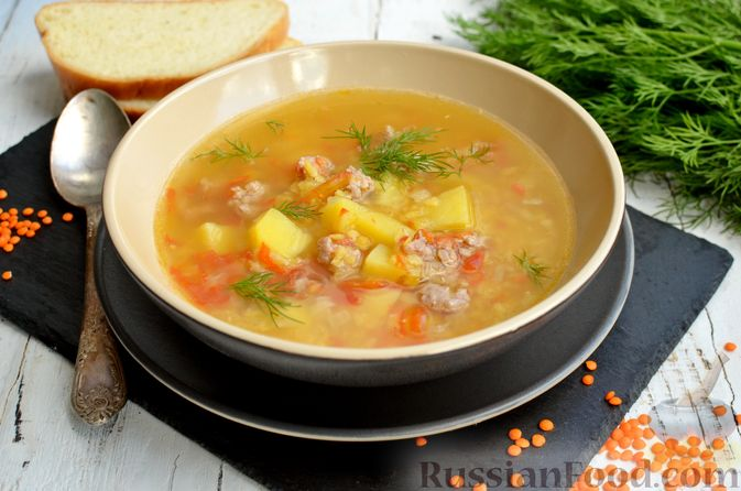 Суп с чечевицей и мясным фаршем