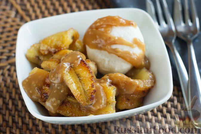 Жареные бананы со сливочной карамелью и кунжутом