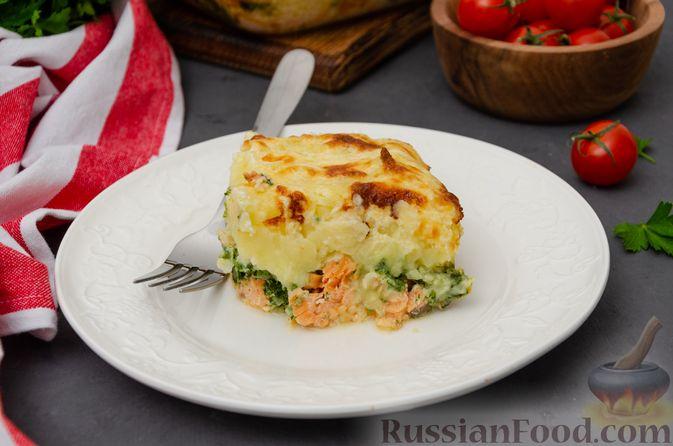 Картофельная запеканка с сёмгой и шпинатом