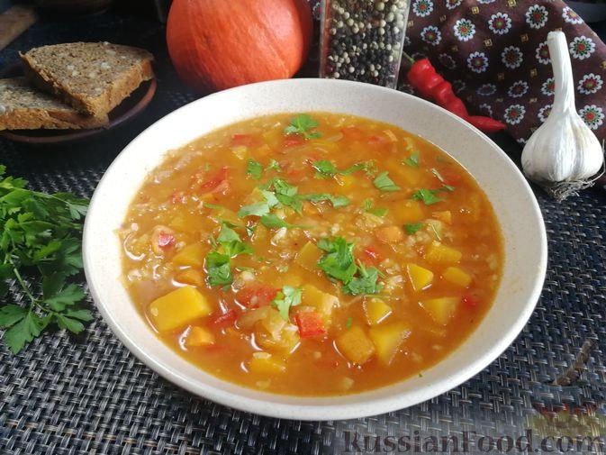 Острый гороховый суп с тыквой